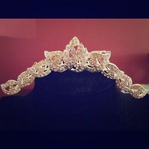 Silver Swarovski Crystal Tiara Comb/ Headpiece